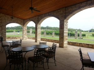 Outdoor pavilion at Flat Creek Winery in Texas, overlooking their vineyards.