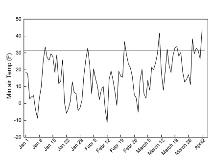 Figure 1. Daily minimum temperatures from January 1 to March 31, 2014 recorded at Rock Springs research farm (Centre County, PA).