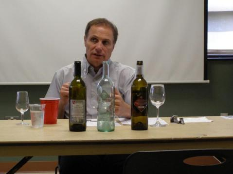 Alain Razungles, Professor of Enology at the Institute des Hautes Etudes de la Vigne et du Vin. Here he is tasting some eastern U.S. wines and providing feedback to the winemakers in the audience.