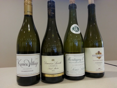 Chardonnay Benchmark Tasting. Chardonnays tasted are from New Zealand, Chablis, Burgundy, and California.