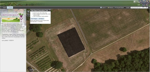 Screen Shot of the Vineyard Site Selection Tool Developed by Virginia Tech.