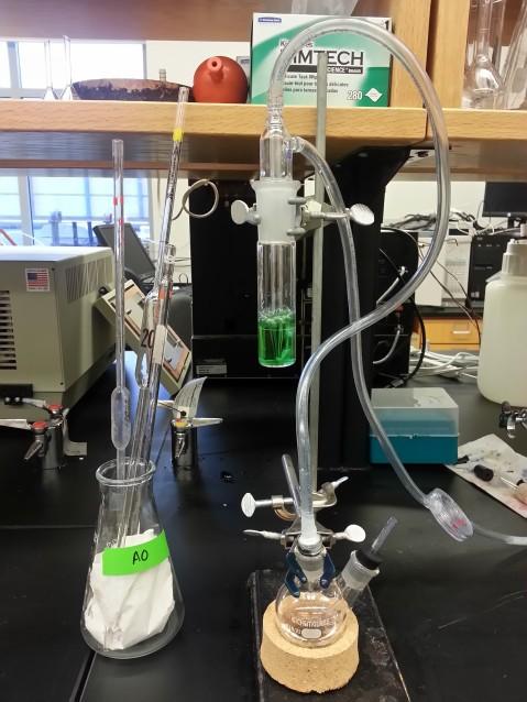 Aeration-Oxidation (AO) system set up to measure free sulfur dioxide.