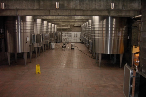 Make sure cellar equipment is properly cleaned and in good working order before harvest. [Opus One cellar, 2004.]