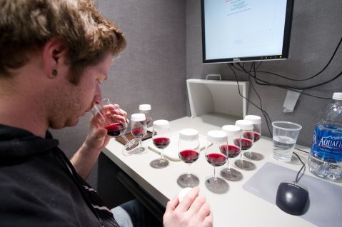 Sensory threshold testing in red wine. Photo by: Michael Black/Black Sun Photography