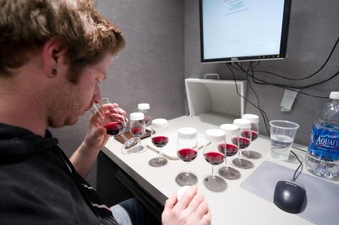 Sensory threshold testing in red wine. Photo by: Michael Black/Black Sun Photography