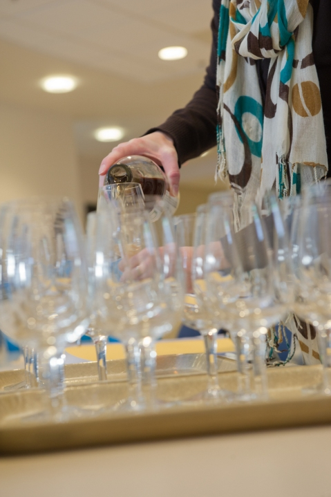 Pouring wines for sensory evaluation. Photo by: Michael Black/Black Sun Photography
