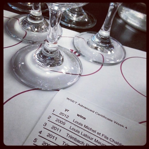 Wine sensory evaluation – an educational tasting session – hosted by a Wine and Spirits Education Trust class.  Flights of wine are chosen to emphasize regional and stylistic characteristics that are specific to a given region.