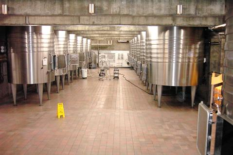 Winery cleanliness and sanitation is an important component in reducing microbial contamination risks throughout various stages of wine production.  The above image shows an example of good cleaning and sanitation practices.  Photo by: Denise M. Gardner