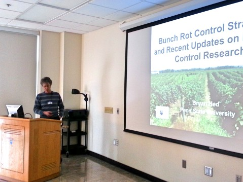 Bryan Hed discusses his annual disease management updates for wine grape growers in Pennsylvania. Photo by: Denise M. Gardner