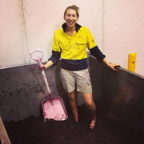 Virginia Mitchell interns at Two Hands Winery in Australia, harvest season 2013. Photo from: Virginia Mitchell