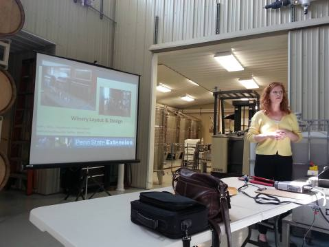 Dr. Kathy Kelley presents her research on tasting room design at a regional meeting in Erie County. Photo from: Denise Gardner