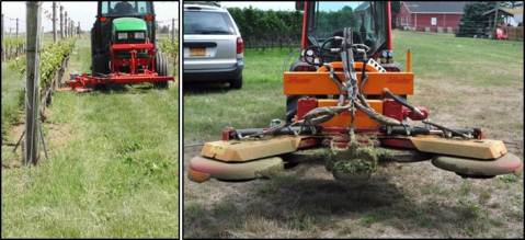 Figure 5. Under-trellis mowing with a single head mower (left) and two mowing heads with a row middle mower (right). Photos credit: A. Wise, Cornell Cooperative Extension.