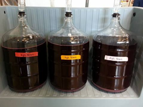 Figure 2: Pre-Fermentation tartaric acid addition (2 g/L, 4 g/L, and 6 g/L) trials to 2015 Merlot must. This image shows the wines during malolactic fermentation. Photo by: Denise M. Gardner
