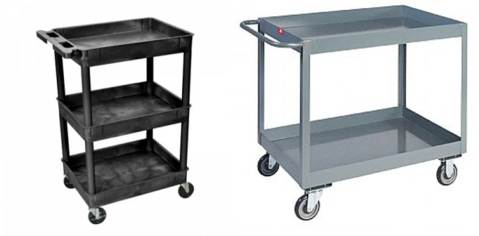 Figure 4: Utility carts like this plastic one from School Outfitters or the metal one from Grainger can be easy additions to hold necessary cleaning supplies like citric acid/sulfur dioxide and pH strips, as well as hang spray bottles or hold gloves for cleaning. Carts can be easily moved and stored in the cellar for convenience.