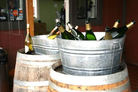 Figure 1: Sparkling wines at the tasting bar at Iron Horse Winery in CA. Photo by: Denise M. Gardner