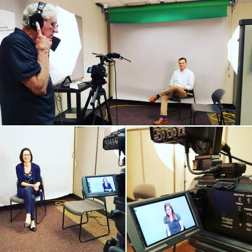 Figure 1: Filming Day! Dr. Ryan Elias, Dr. Michela Centinari, and Denise Gardner get interviewed and video taped for a small presentation on winemaking at Penn State. Filming completed by media guru, Jon Cofer. Photo by: Denise M. Gardner